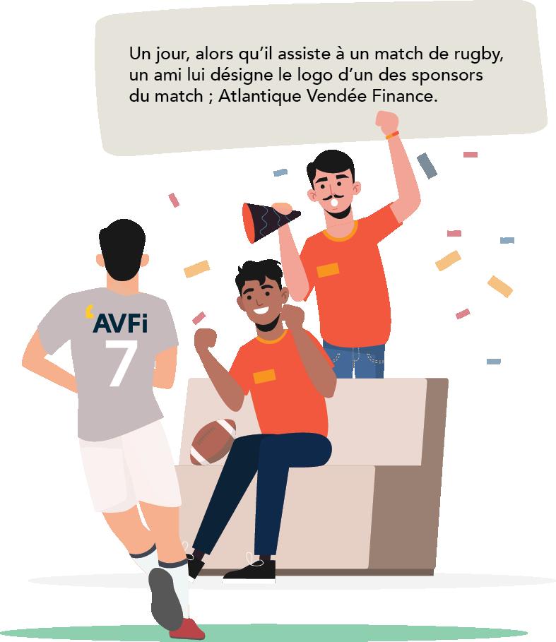 Lors d'un match de rugby, il voit le sponsor AVFi.